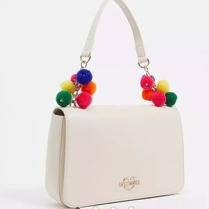 Love moschino white shoulder bag with Pom poms